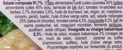 Fusilli Tomates et Mozzarella - Ingrediënten - fr
