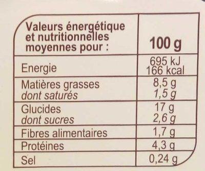 Fusilli Tomates et Mozzarella - Voedingswaarden - fr
