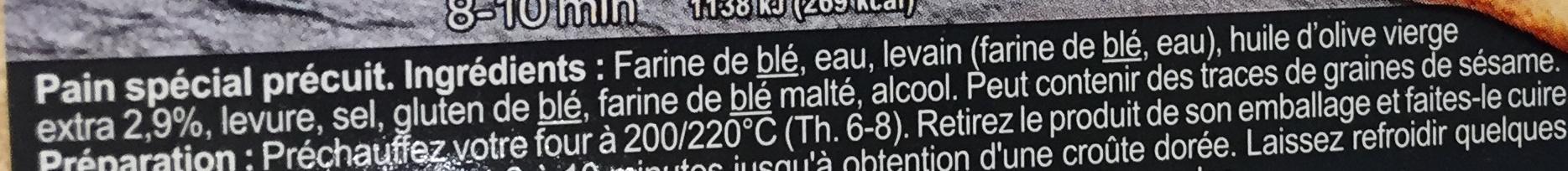 Pavé précuit au four à pierre - Ingrediënten - fr
