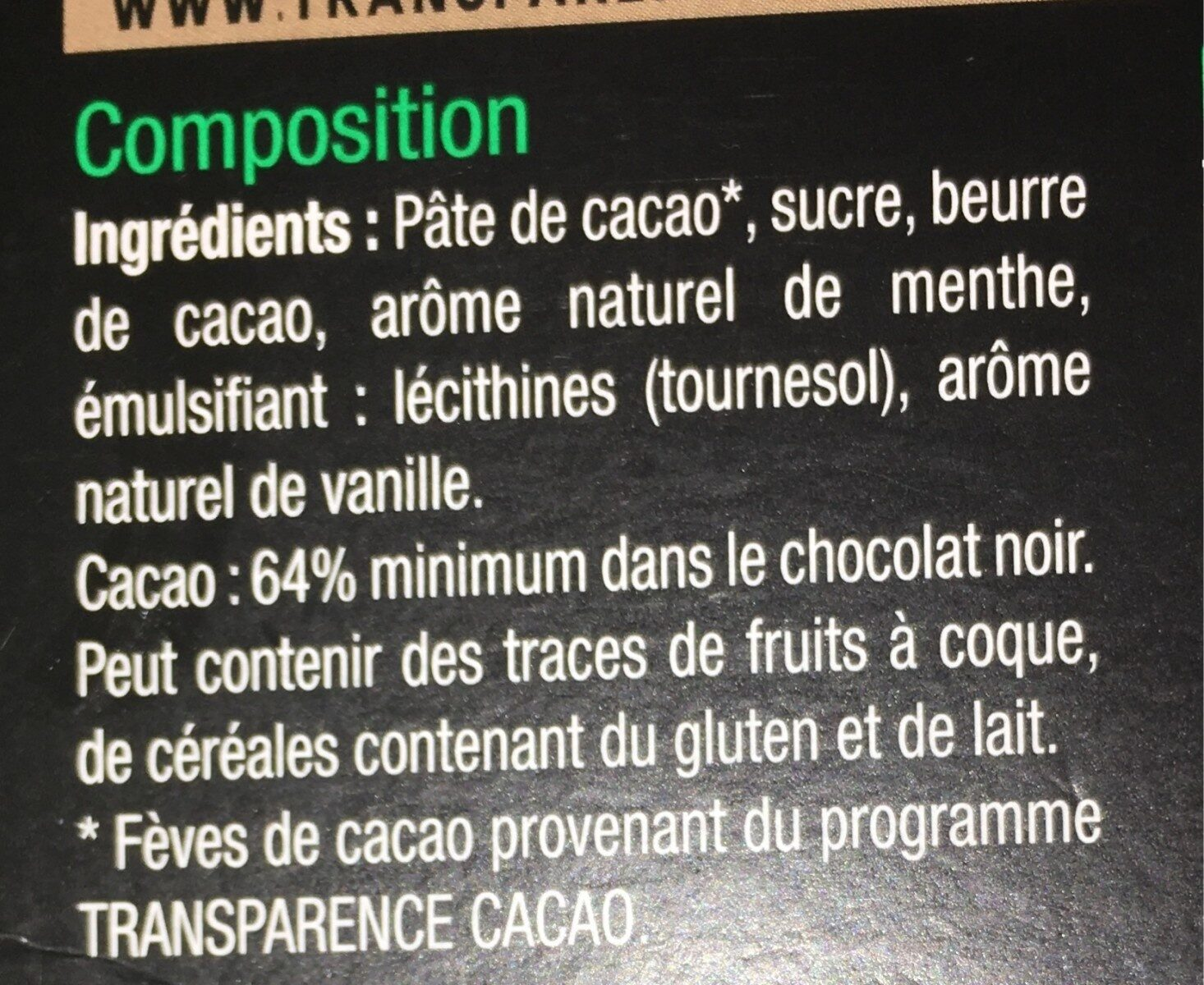 Noir menthe - Ingredients