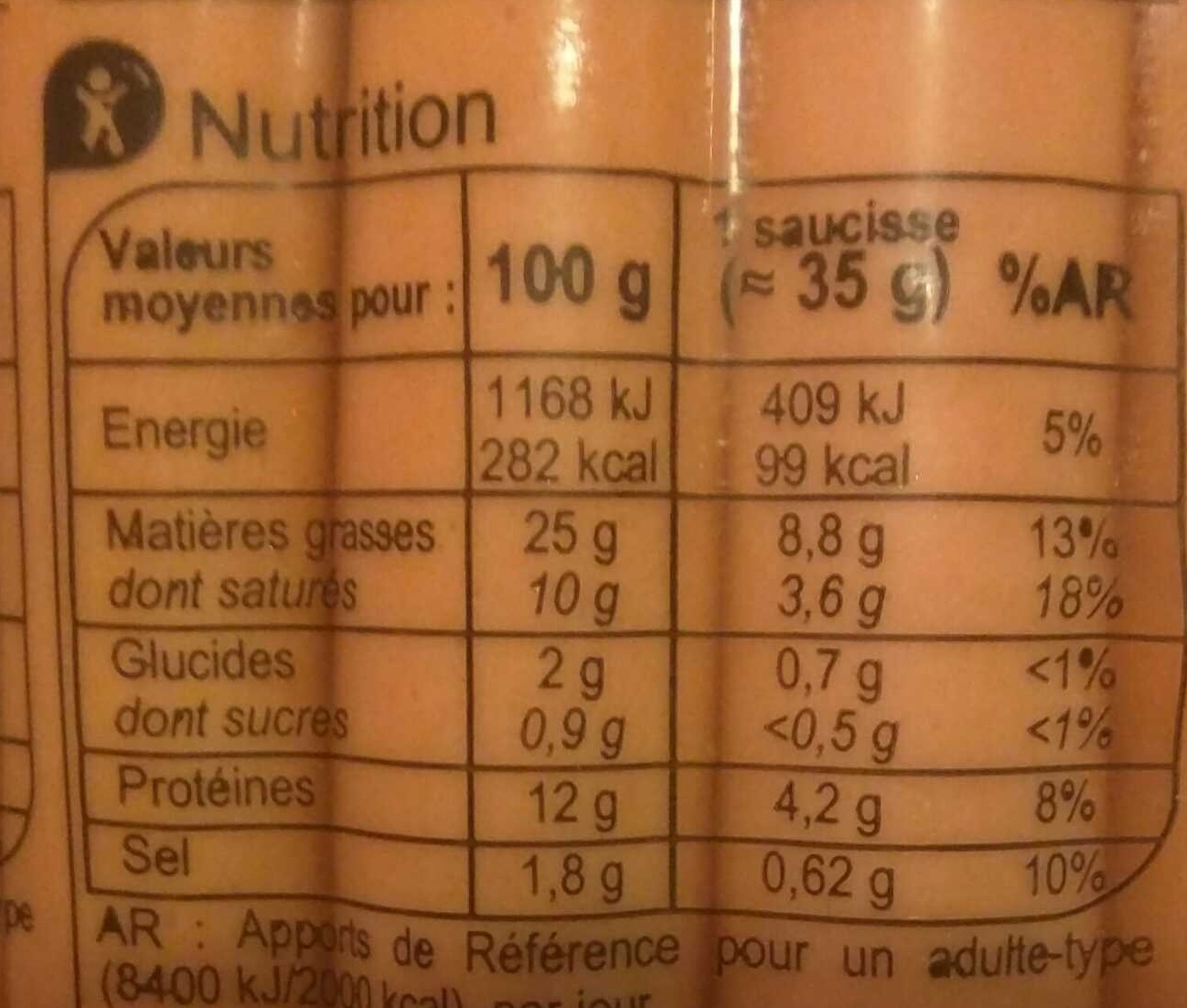 Knacks Pur Porc - Nutrition facts