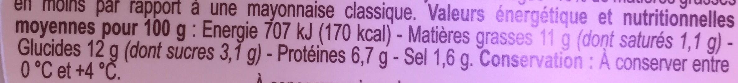 6 bâtonnets mayonnaise allégée - Informations nutritionnelles - fr