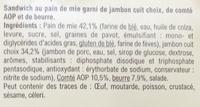 Jambon Beurre & Comté AOP - Ingrédients - fr