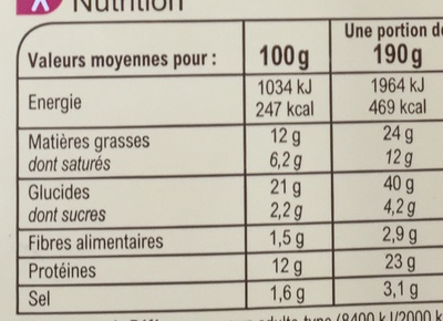 Jambon Beurre & Comté AOP - Informations nutritionnelles - fr