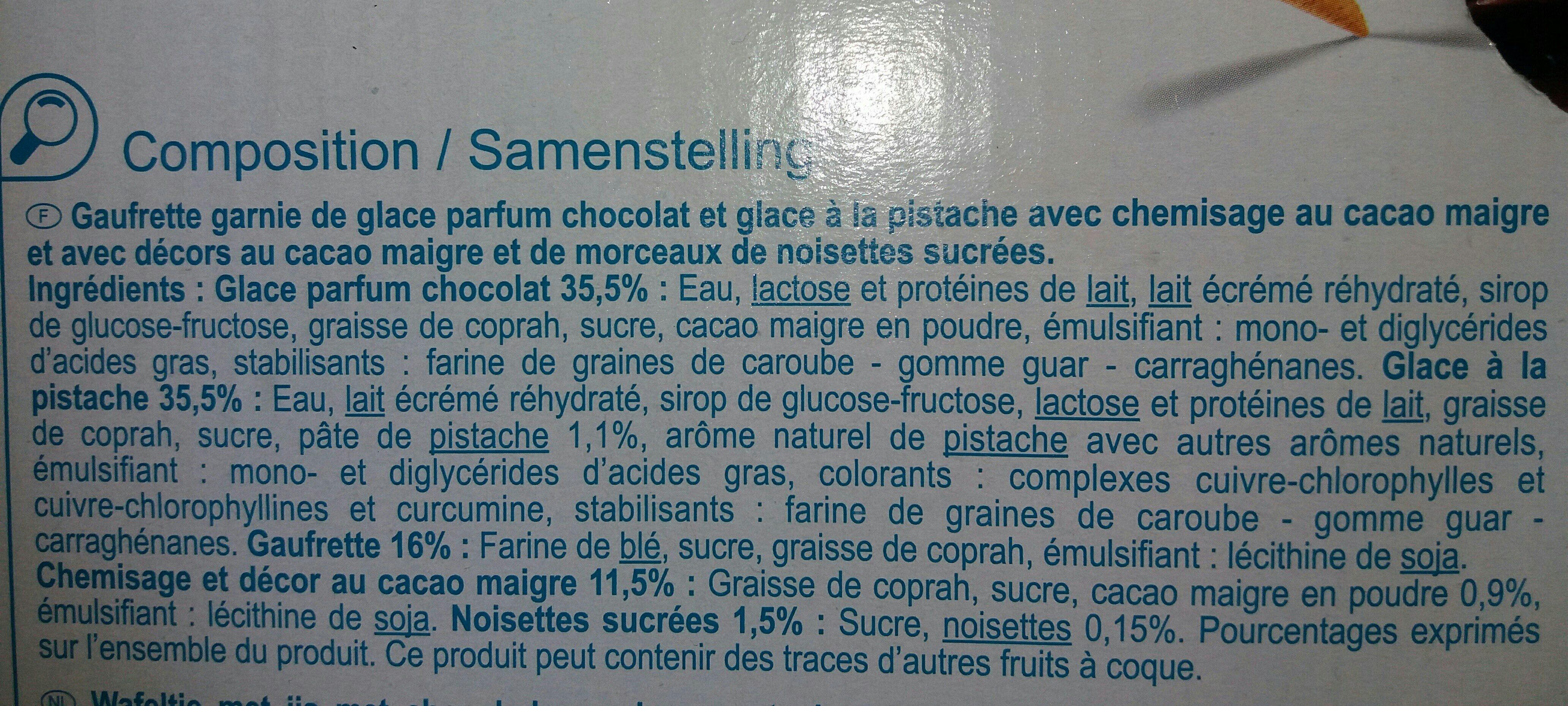 8 Cônes Saveur Chocolat Pistache - Ingrédients
