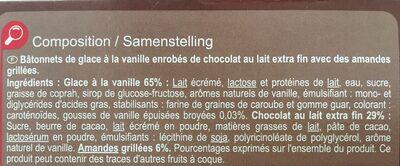 Chocolat au lait Amandes - Ingrédients - fr