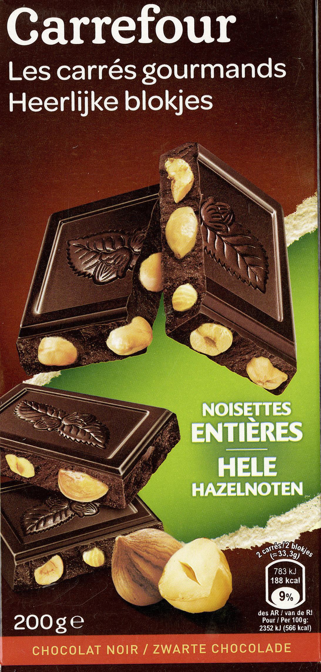 Carrés Gourmands Chocolat noir Noisettes entières - Product