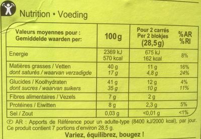 Carrés Gourmands Chocolat noir Noisettes entières - Voedigswaarden