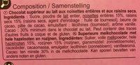 Carrés gourmands chocolat au lait - 成分 - fr
