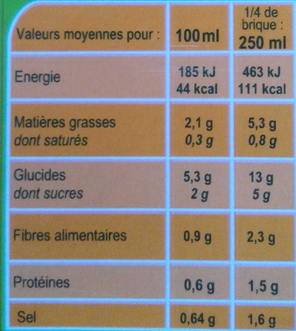 Velouté aux  8 Légumes - Informations nutritionnelles