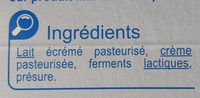 Fromage blanc nature - Ingredients