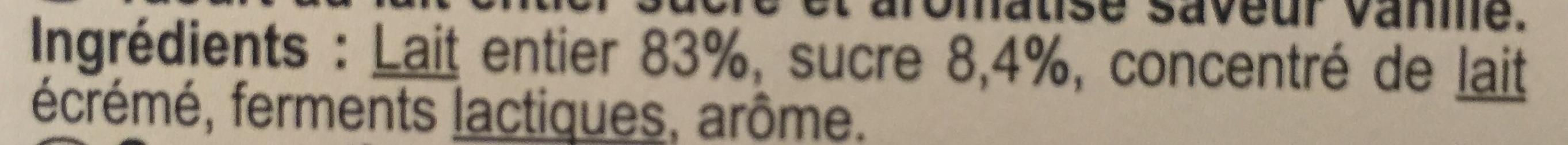 Yaourt saveur vanille - Ingredients