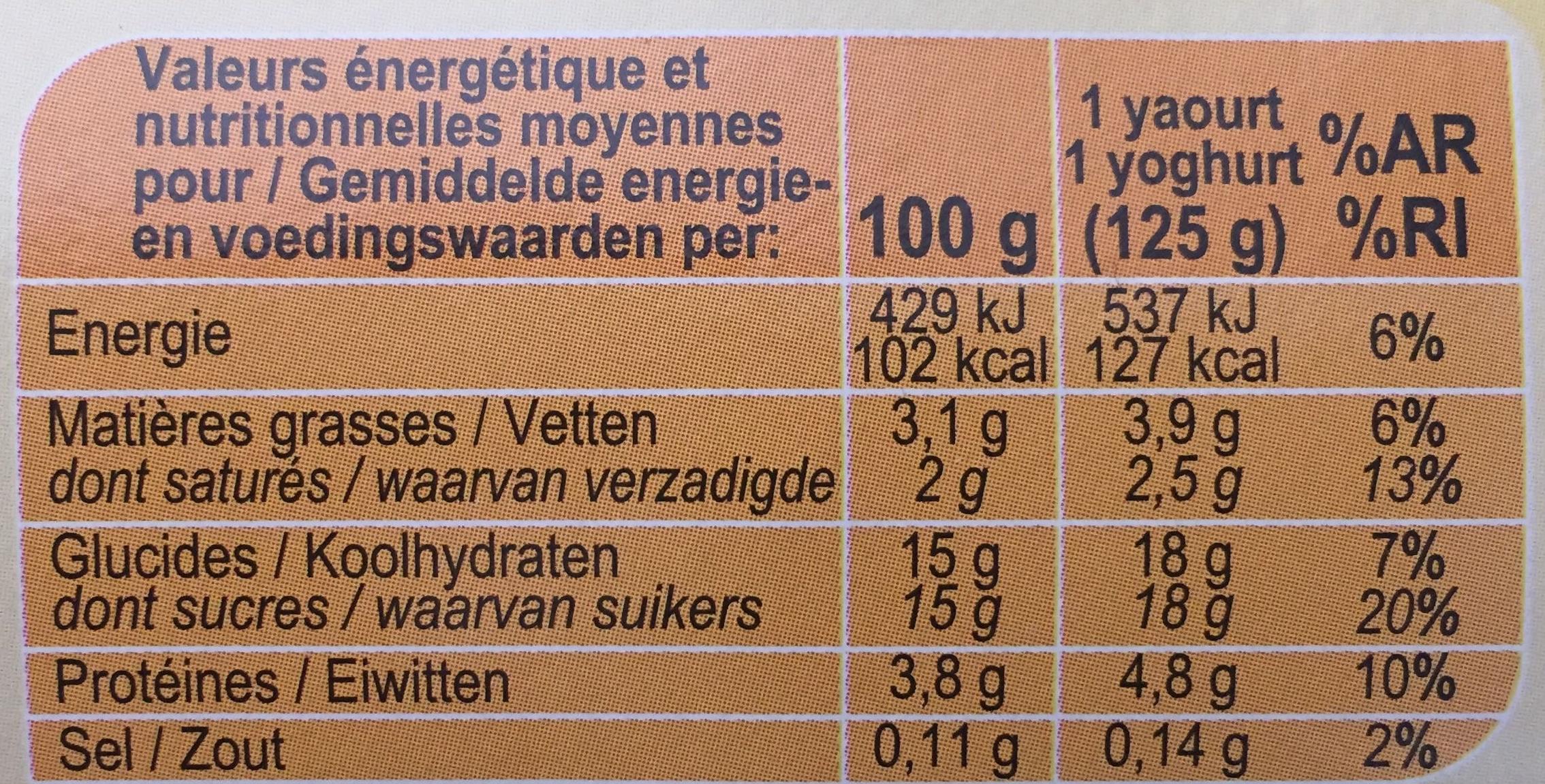 Yaourt saveur vanille - Voedingswaarden