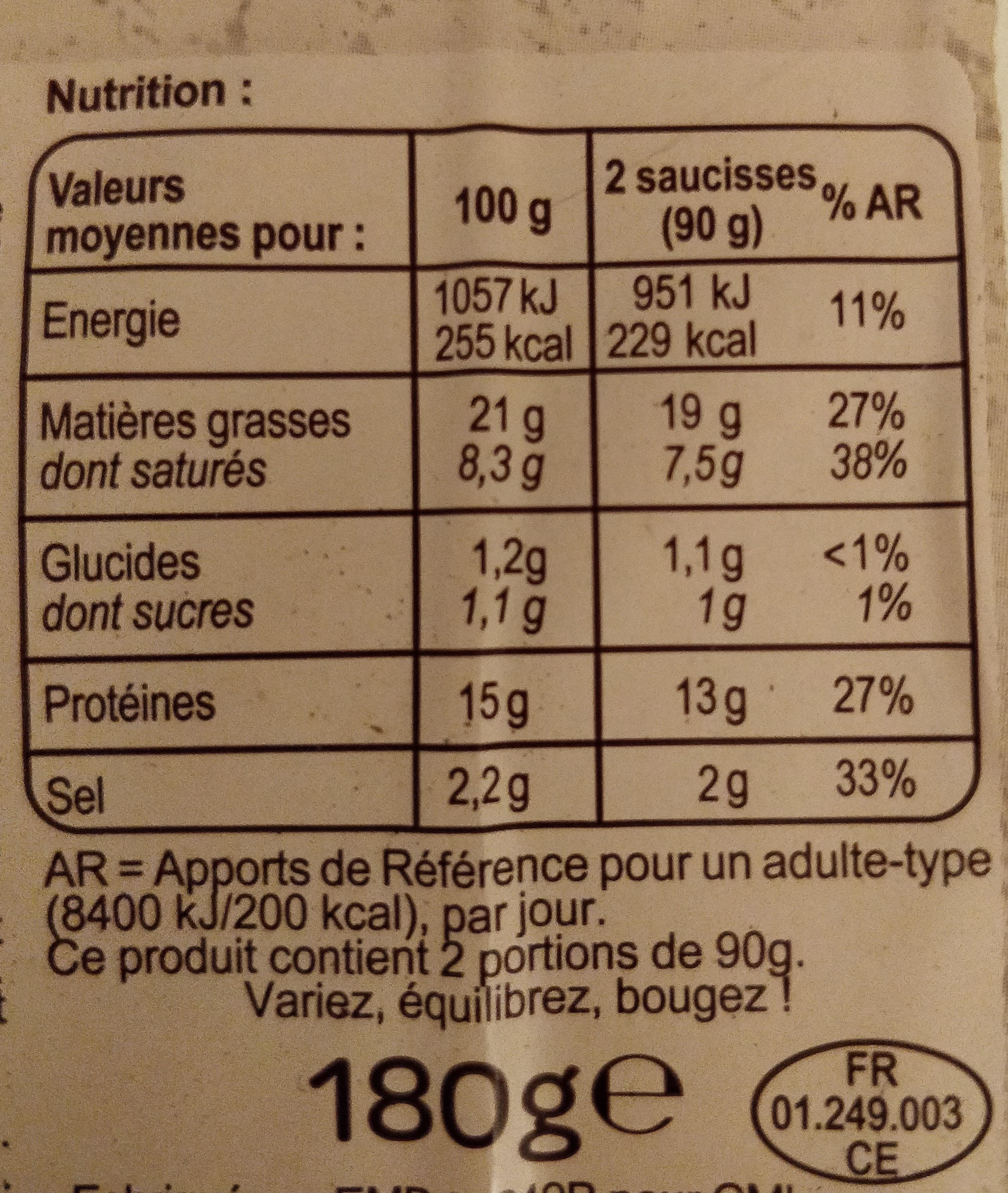 Knack bio qualité supérieure - Nutrition facts