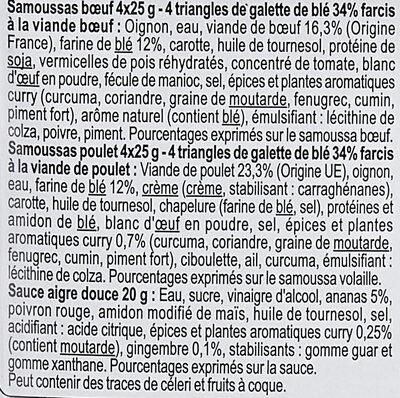 Mini samoussas volaille & boeuf sauce aigre-douce - Ingredients - fr