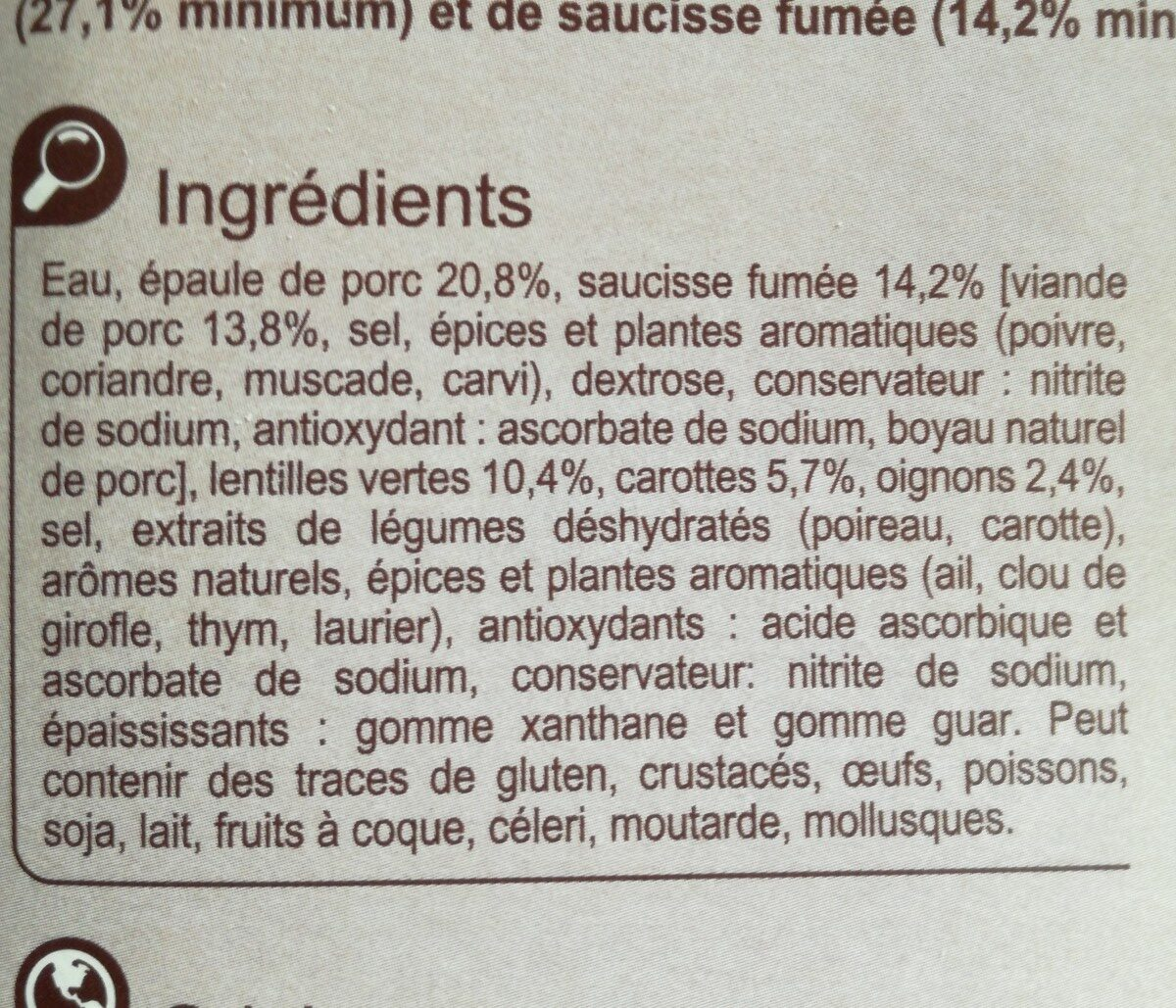 Petit salé aux lentilles vertes - Ingredients - fr