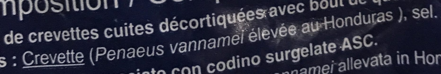 Queues de crevettes - Ingredientes - fr