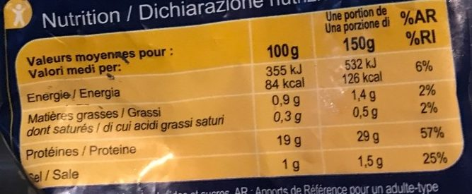 Queues de crevettes - Información nutricional - fr