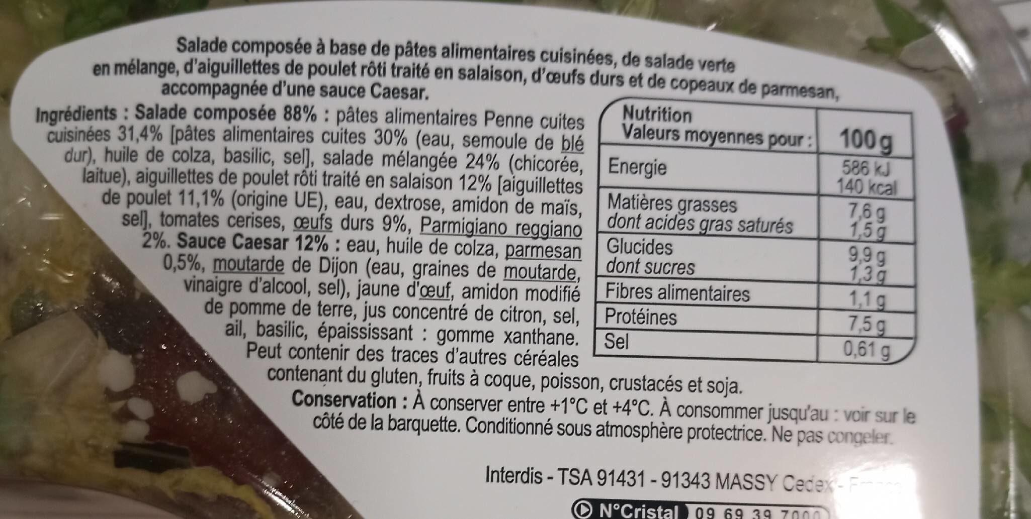 Bon appétit ! - La caesar poulet, oeufs, parmesan - Voedingswaarden - fr