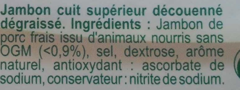 Jambon supérieur sans couenne 2 tranches - Ingrédients - fr