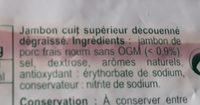 Jambon supérieur sans couenne - Ingrédients