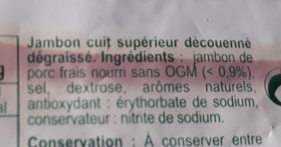 Jambon supérieur sans couenne - Ingrédients - fr