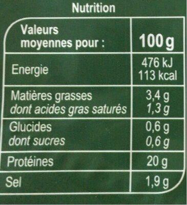 Le Supérieur Cuit à l'etouffée - Informations nutritionnelles - fr