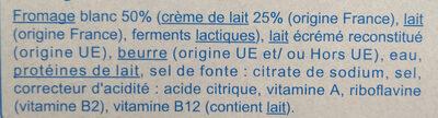 Le carré crémeux - Ingrédients - fr