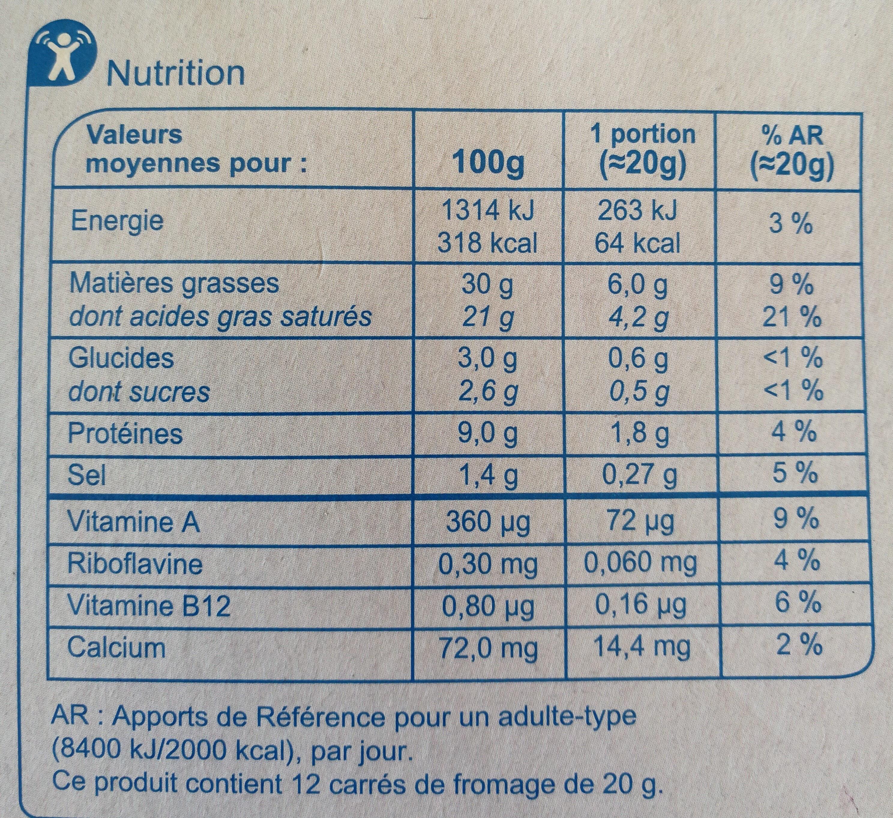 Le carré crémeux - Informations nutritionnelles - fr