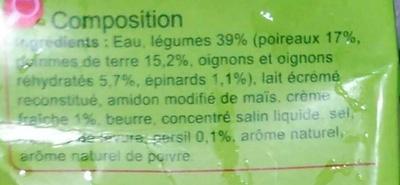 Velouté aux  Poireaux & aux  Pommes de terre - Ingrediënten