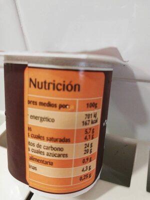 Postre lácteo al chocolate - Información nutricional - es