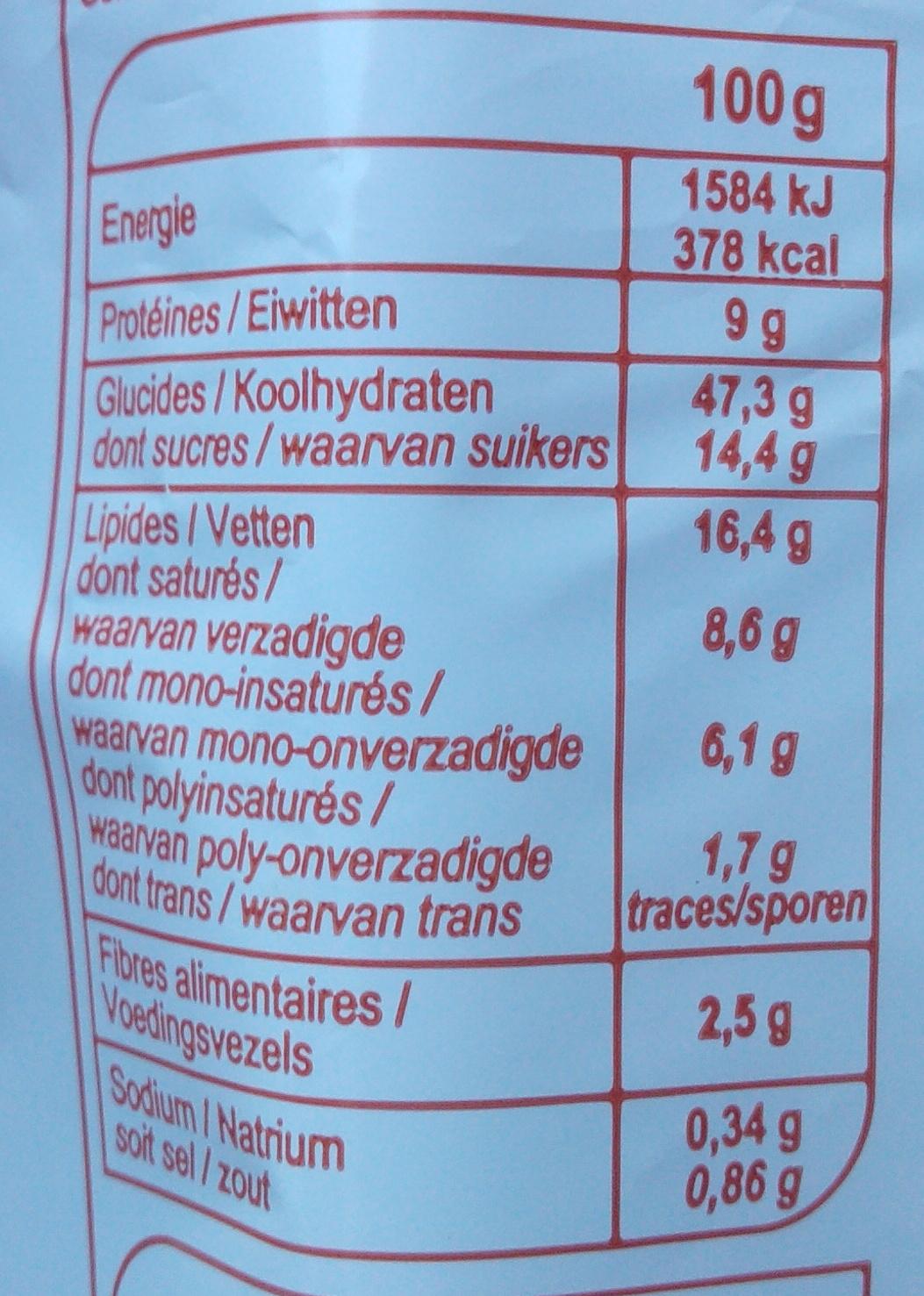 Briochettes aux pépites de chocolat - Informations nutritionnelles - fr