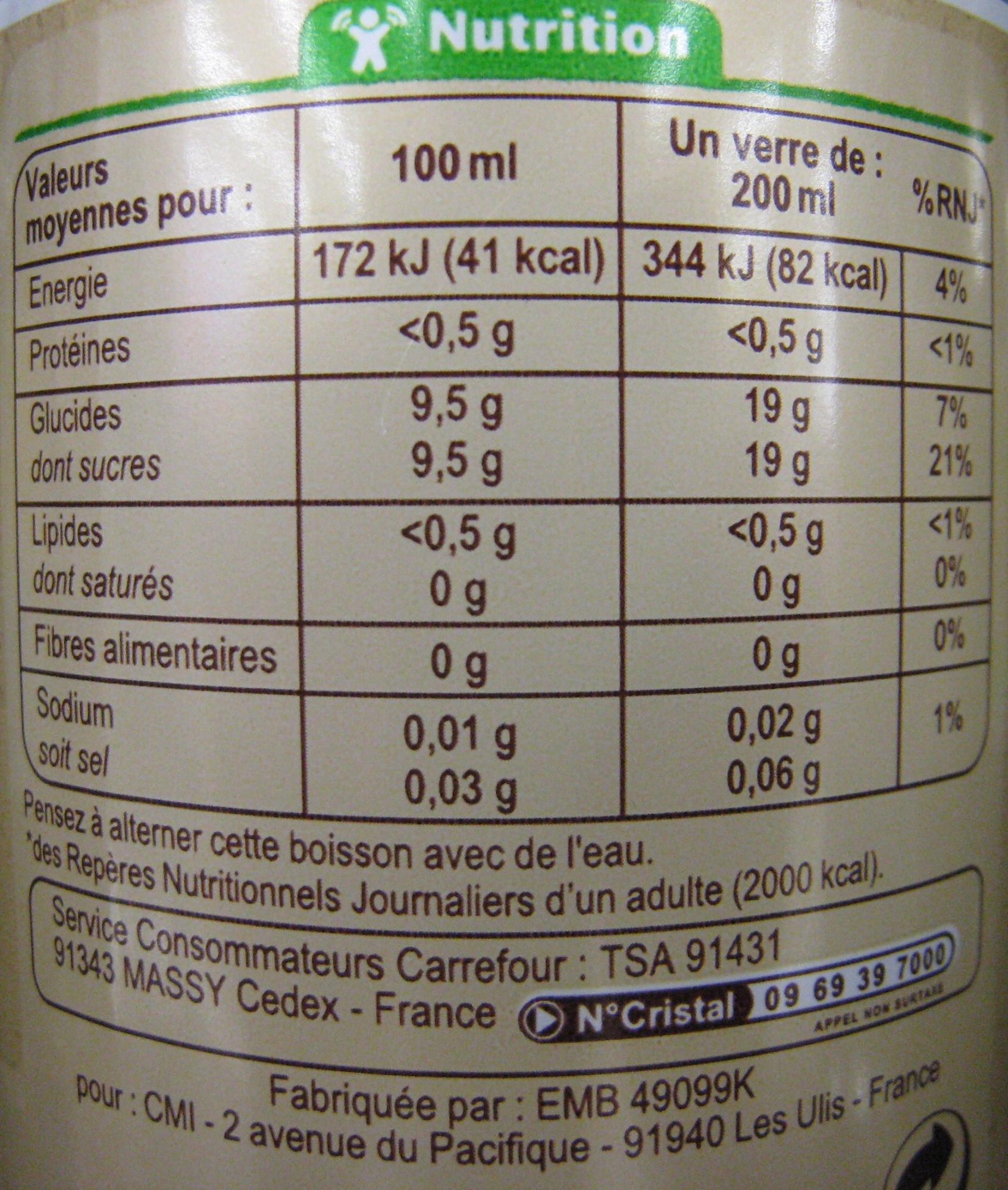 Carrefour BIO Limonade - Valori nutrizionali - fr