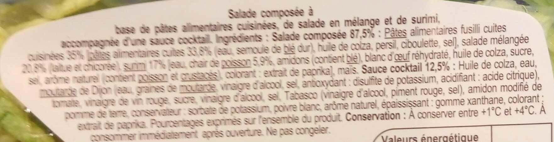 Salade Fusilli & Surimi - Ingredients