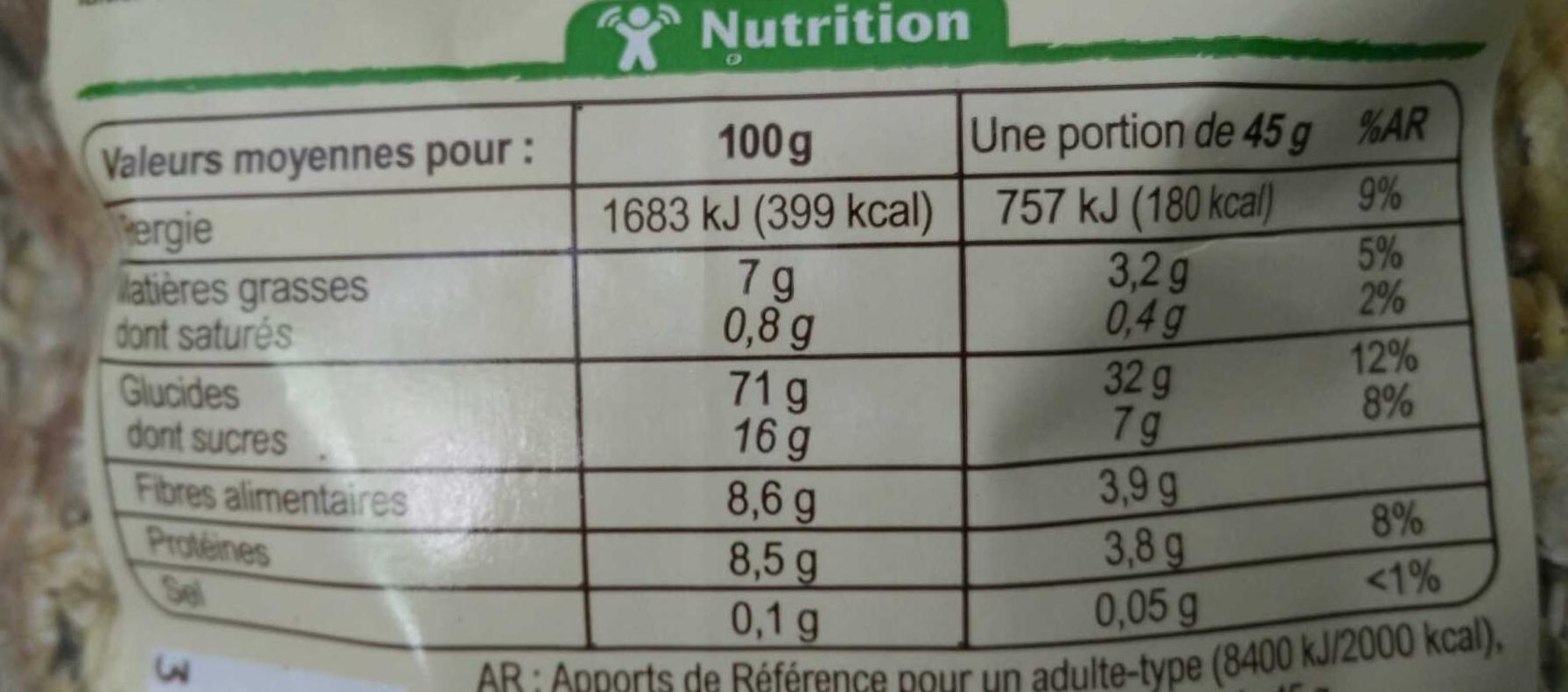 Muesli floconneux raisins noisettes amandes - Informations nutritionnelles - fr