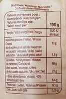 Muesli croustillant nature - Informations nutritionnelles - fr