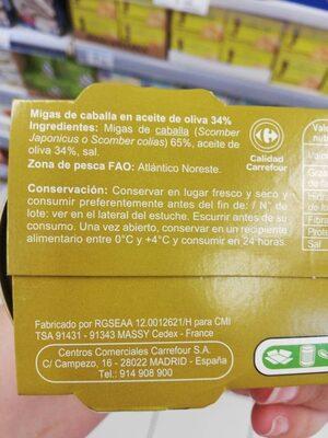 Caballa en aceite de oliva 34% - Ingredients