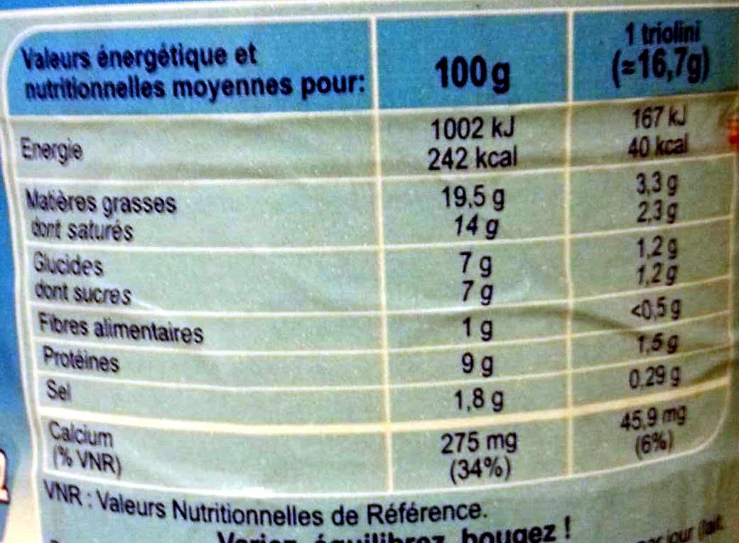 Triangle fondant - Informations nutritionnelles - fr