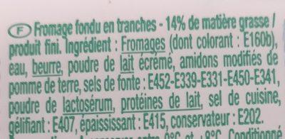 Fromage fondu en tranches - Ingrédients - fr