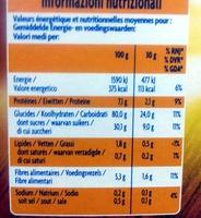 Choco ballz - Informazioni nutrizionali