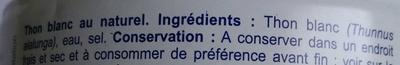 Thon blanc - Ingredients - fr