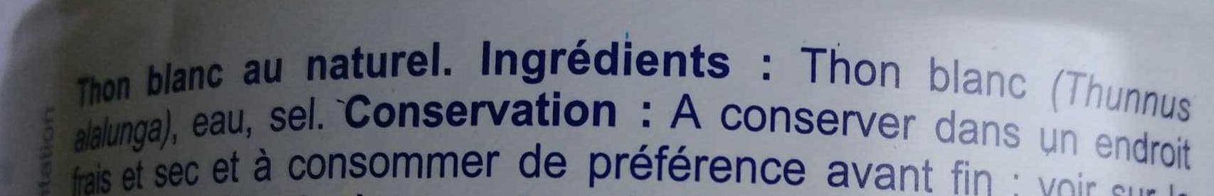 Thon blanc - Ingrédients - fr