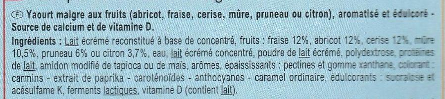Yaourt & Fruits 0% - Ingrediënten - fr