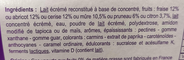 Yaourt & Fruits 0% mat gr multifruits - Ingrediënten - fr