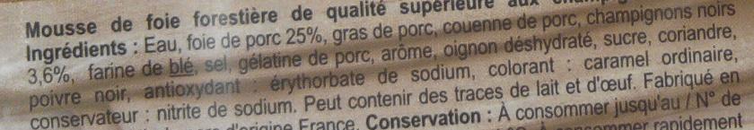 Mousse forestière - Ingrédients