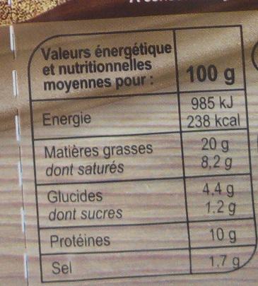 Mousse forestière - Informations nutritionnelles