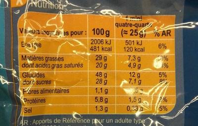 Mini Quatre Quarts - Voedingswaarden
