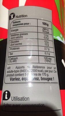 Yaourt à boire Yah!, parfum fraise - Nutrition facts