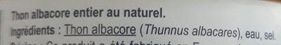 Thon  albacore  entier - Ingredients - fr