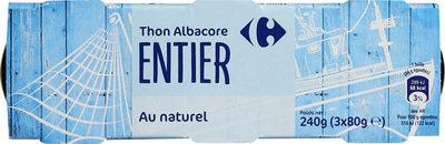 Thon  albacore entier - Produit